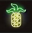 pineapple light glowing neon sign vector image vector image