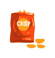 red bag package of crisp potato chips snacks vector image vector image
