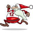 Running santa claus cartoon vector image