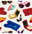 Seamless women fashion accessories wallpaper vector image vector image