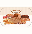 set bread products pastries on a white vector image