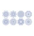 set decorative circle patterns ethnic flower vector image