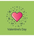 Valentines day green flat line heart