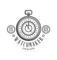 watchmaker logo design monochrome vintage clock vector image vector image