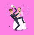 wedding just married funny couple bride and vector image vector image