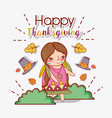 woman indigenous with hats and autumn leaves vector image