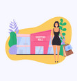 woman with paper bag do shopping shopping mall vector image