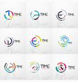 collection of abstract logo ideas time vector image