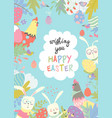 cute frame composed of easter bunnies and easter vector image