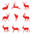 red silhouettes of deer vector image
