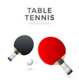 3d table tennis ping-pong rocket with ball vector image
