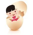 baby girl in broken egg vector image