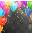balloons confetti and red gold ribbons eps 10 vector image
