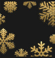 black winter background with golden snowflakes vector image vector image