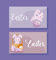 cards with cute rabbits female of easter vector image vector image