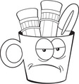 Cartoon angry pencil cup vector image vector image