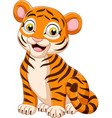 cartoon funny baby tiger sitting vector image vector image