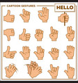 cartoon gestures showed by human hands vector image