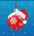 christmas ball red with snowflake vector image vector image
