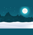 christmas landscape background of full moon and mo vector image vector image