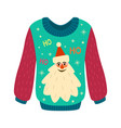 christmas sweater with ugly print woolen jumper vector image