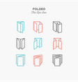 color line icon set of folded objects scoring vector image vector image