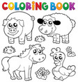 coloring book with farm animals 5 vector image vector image