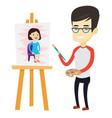 creative male artist painting portrait vector image vector image
