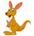 cute cartoon kangaroo carrying a cute Joey vector image