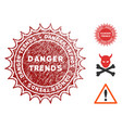danger trends stamp with scratched effect vector image vector image