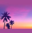 dark palm trees silhouettes on light pink sunrise vector image