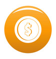 design coin icon orange vector image vector image