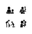 family bonding time black glyph icons set vector image vector image