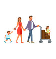 family with suitcases vector image vector image