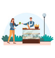female character is buying fresh loaf bread vector image