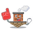 foam finger brick chimney next the cartoon roof vector image