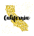 Golden glitter map of the state of California vector image vector image