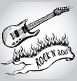 guitar flames rock and roll vector image vector image