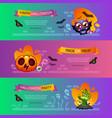 halloween horizontal banners vibrant set vector image vector image