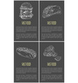 hand drawn carry-out foodstuff poster for snackbar vector image vector image