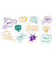 hand drawn comic speech bubbles thin line icon set vector image vector image