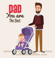happy fathers day characters with baby in cart vector image vector image
