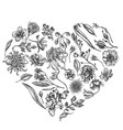 heart floral design with black and white japanese vector image vector image