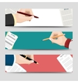 Horizontal banners template with signing document vector image