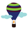 hot air balloon with a brown basket and blue vector image vector image