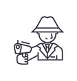 mafia man with gun concept thin line icon vector image