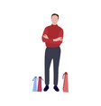 man with packets after shopping vector image vector image
