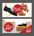 men autumn shoes horizontal flyers vector image