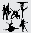performance couple ballet silhouette vector image vector image
