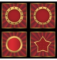 Red golden empty labels on striped background vector image